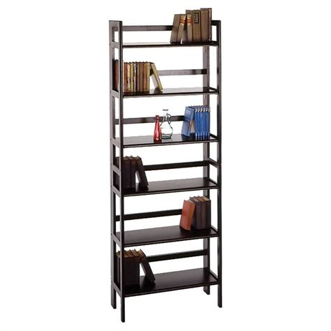 Stackable Folding Bookcase by Winsome 3 Tier Stackable Folding Shelf Black Beechwood