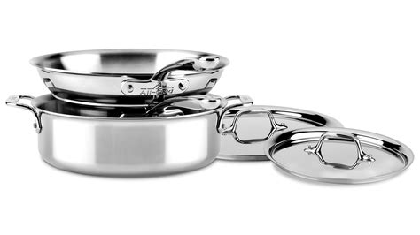 clad  stainless compact cookware set  piece cutlery