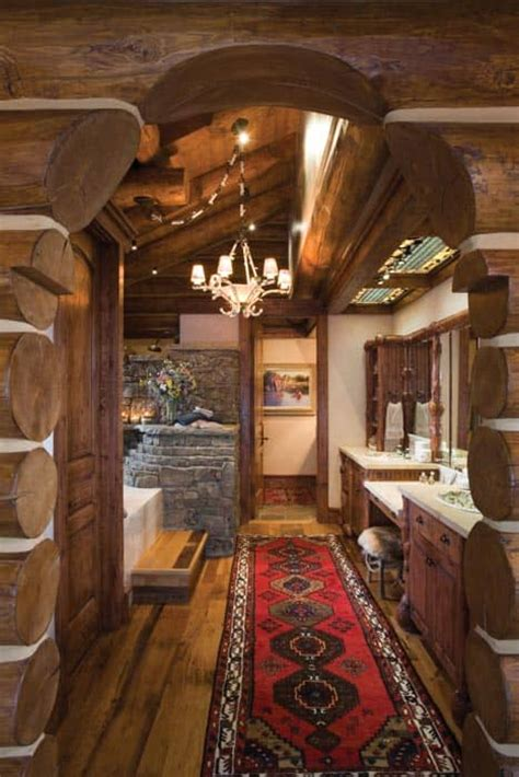 Beautiful Log Home Bathroom