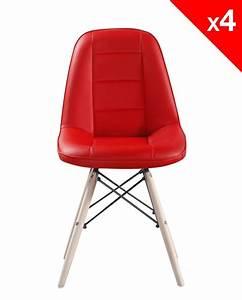 Chaise Scandinave Rouge : kong chaise scandinave matelass e lot de 4 ~ Teatrodelosmanantiales.com Idées de Décoration