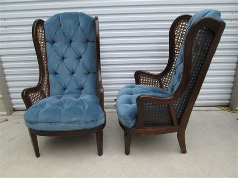 Pair Vtg Hollywood Regency Tall Cane Wingback Arm Chairs