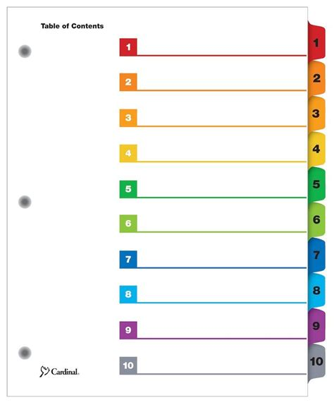 quickstep onestep printable table  contents dividers