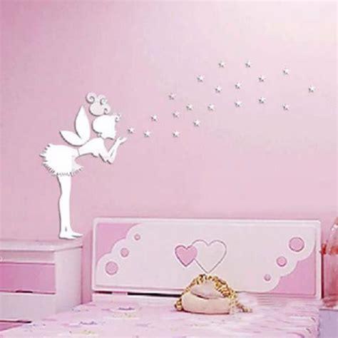 autocollant chambre fille ange fée magique et étoiles 3d miroir sticker mural
