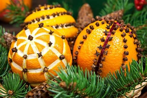 orange smell christmas tree decoration with oranges and fir tree stock photo colourbox
