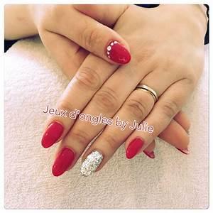 Ongles Pinterest : gel rouge glamour avec un ongle paillet argent et strass argent s ongles pinterest ~ Melissatoandfro.com Idées de Décoration