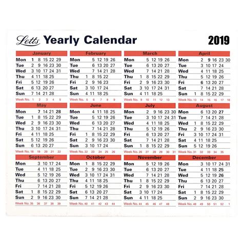 letts yearly calendar staples