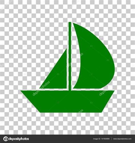 Sailboat Icon Transparent by Sail Boat Sign Dark Green Icon On Transparent Background