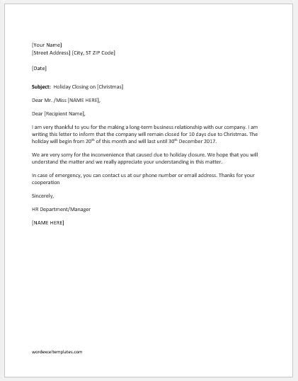 holiday closing announcement letters word excel templates