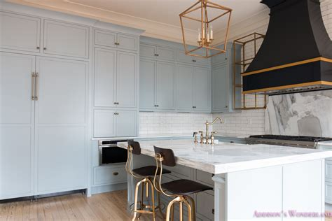 classic vintage modern kitchen blue gray cabinets inset