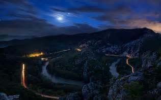 mountain road  night hd wallpaper background image