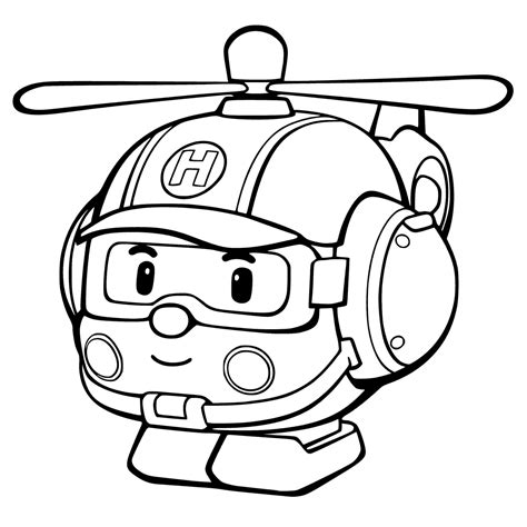sketsa gambar mewarnai hitam putih tobot robocar poli
