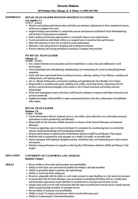 resume format for team leader in retail retail team leader resume sles velvet