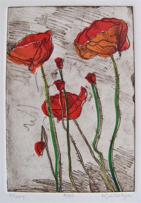 items similar  red poppies softground etching  chine
