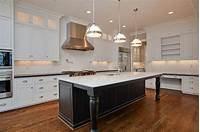 black kitchen island Distressed Black Kitchen Island with Turned Legs - Transitional - Kitchen