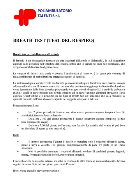 preparazione breath test lattosio preparazione breath test poliambulatorio talenti