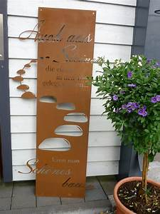 spruchtafel steiniger weg garten schild metall rost deko With französischer balkon mit rost skulpturen für den garten