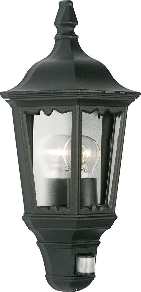 ryedale black 60w mains powered external pir lantern