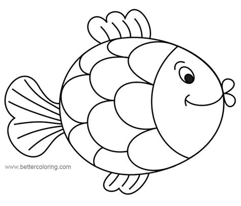 cute cartoon rainbow fish coloring pages  printable