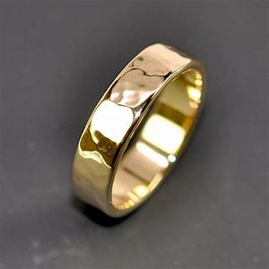 18k yellow gold men39s wedding band hammered 5mm ring sea With mens hammered wedding ring