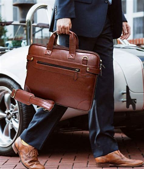 home story brown pu leather office laptop bag   sling bag  men womenside bag