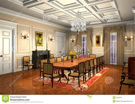 3d Classic Dining Room Royalty Free Stock Photos