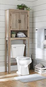 Over, The, Toilet, Bathroom, Space, Saver, Rustic, Gray, Toilet, Shelves, Decor, Wood