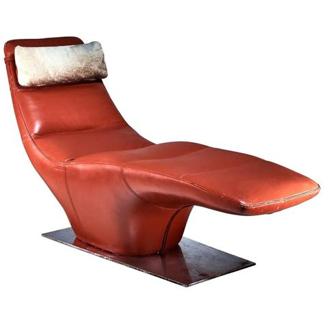 chaise sixties leather chaise longue with cowhide pillow 1960s for sale