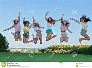 Group Of Happy Teens Jumping, Stock Photo - Image: 43746035
