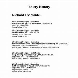 salary history template 6 download free documents in With salary history template hourly