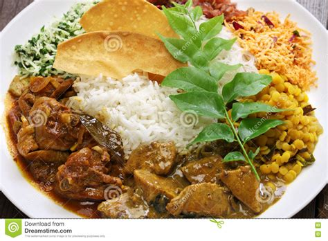cuisine curry sri lankan rice and curry dish stock image image of