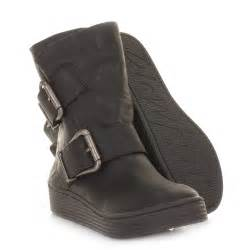 womens blowfish black barnaby wide fit flatform flat ankle boot uk size ebay