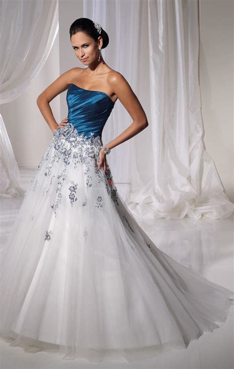 blue  white wedding dresses  trusted wedding source