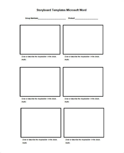 storyboard templates  word samples examples