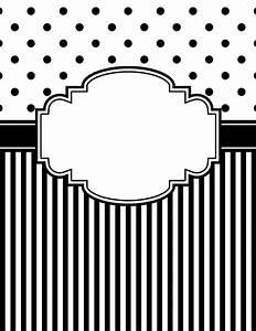 free printable black and white polka dot and stripe binder With black and white binder cover templates
