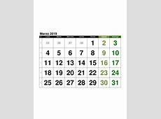 Calendario【Marzo 2019】en formato EXCEL GRATIS