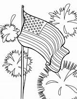 Coloring Flag Fireworks sketch template