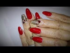 ACRYLIC NAILS: Red and gold - Oval Nail Set - YouTube