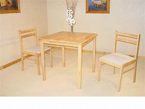 Small square solid rubberwood dining table & 2 chairs
