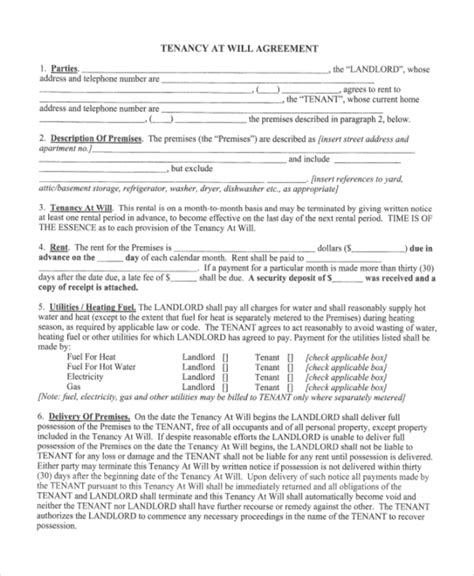 sample tenant agreement forms
