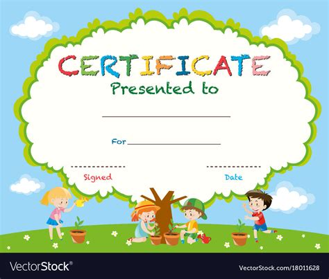 certificate template  kids planting trees vector image