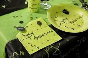 Deco Vert Anis : vente serviette vert anis noire joyeux anniversaire ~ Teatrodelosmanantiales.com Idées de Décoration