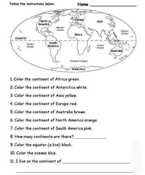 continents and oceans worksheet homeschooldressage
