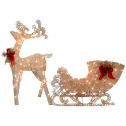 national tree co reindeer and santa s sleigh with led lights christmas decoration reviews