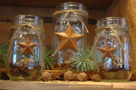 Rustic Mason Jar Set Barn Stars Primitive Rustic Decor
