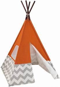Tipi Enfant Exterieur : tente tipi orange pour enfant 109x176cm sur jardindeco ~ Teatrodelosmanantiales.com Idées de Décoration