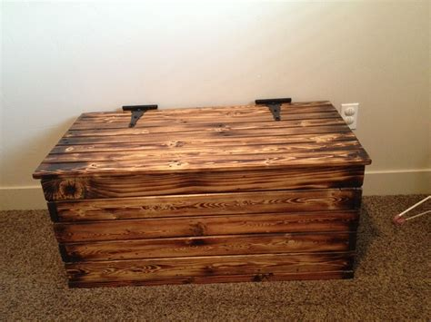 diy toy box    pallets blow torched  glazed