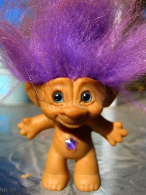 purple good luck troll vintage toy doll collectible