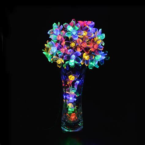 led solar powered light outdoor cherry blossoms garden