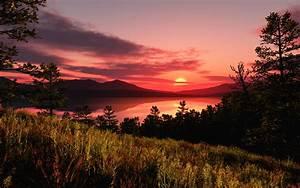 Sunset mountains clouds landscapes sun wallpaper ...