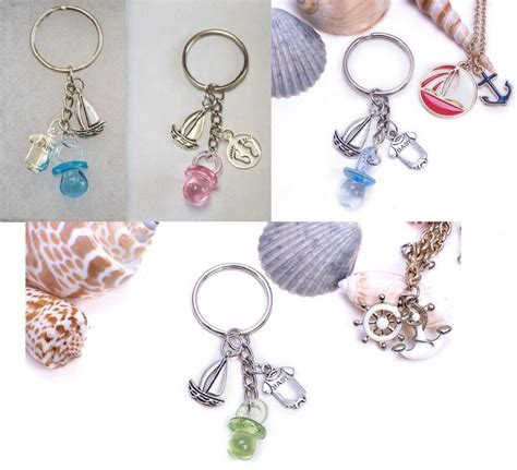 baby shower keychains nautical sailboat sailor pacifier keychain baby